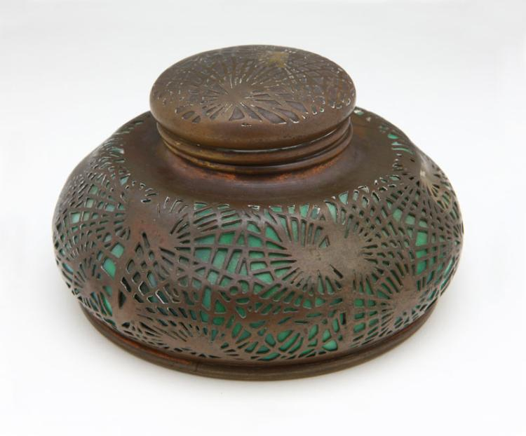 A Tiffany Studios Patinated Bronze and Glass 'Pine Needles' Inkwell, Early 20th Century, Marked ''Tiffany Studios / New York / 847''