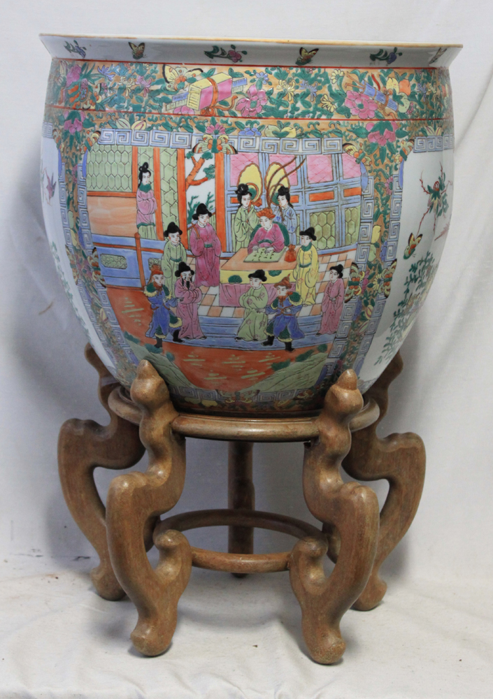 Oriental (Chinese) Porcelain Fish Bowl Planter with Stand