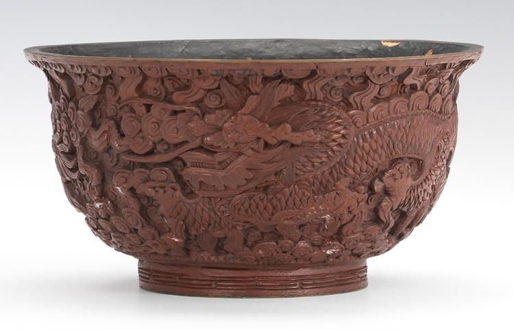 Antique Chinese Brown Cinnabar Bowl with Imperial Dragons, with Ch'ien-Lung (Qianlong) Apocryphal Marks