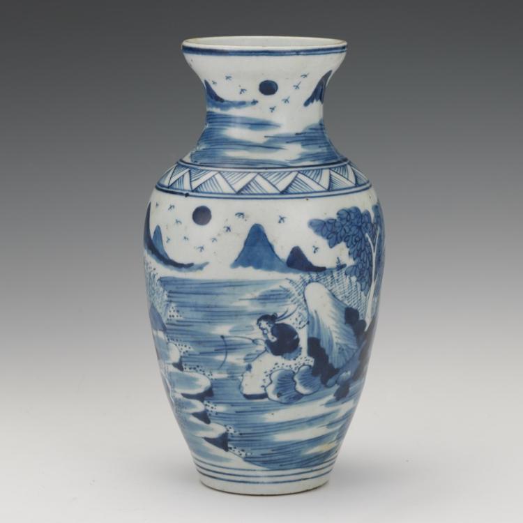 Chinese Blue and White Porcelain Vase of Fishermen