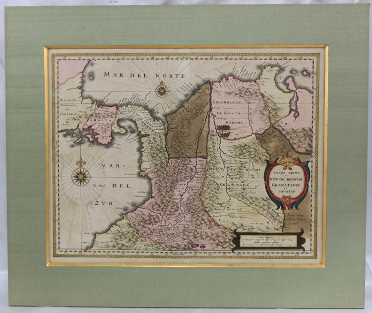 17th Century Antique Map of Granatense et Popayan by Blaeu