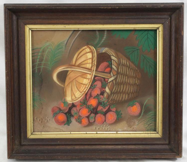 Basket of Strawberries 19th Century American School Pastel on Board Paper