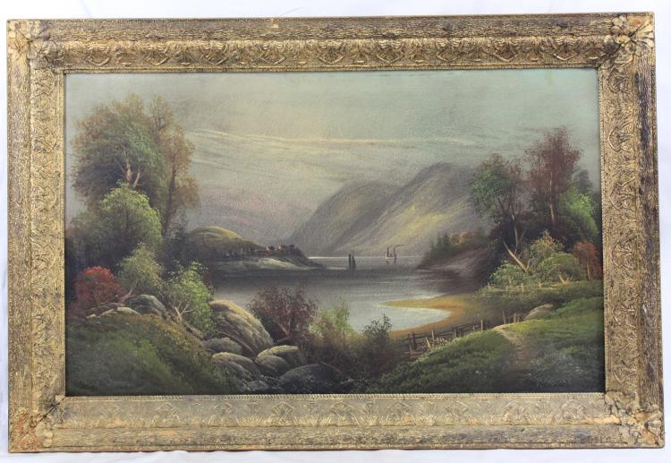 19th Century American Oil on Canvas Landscape Painting