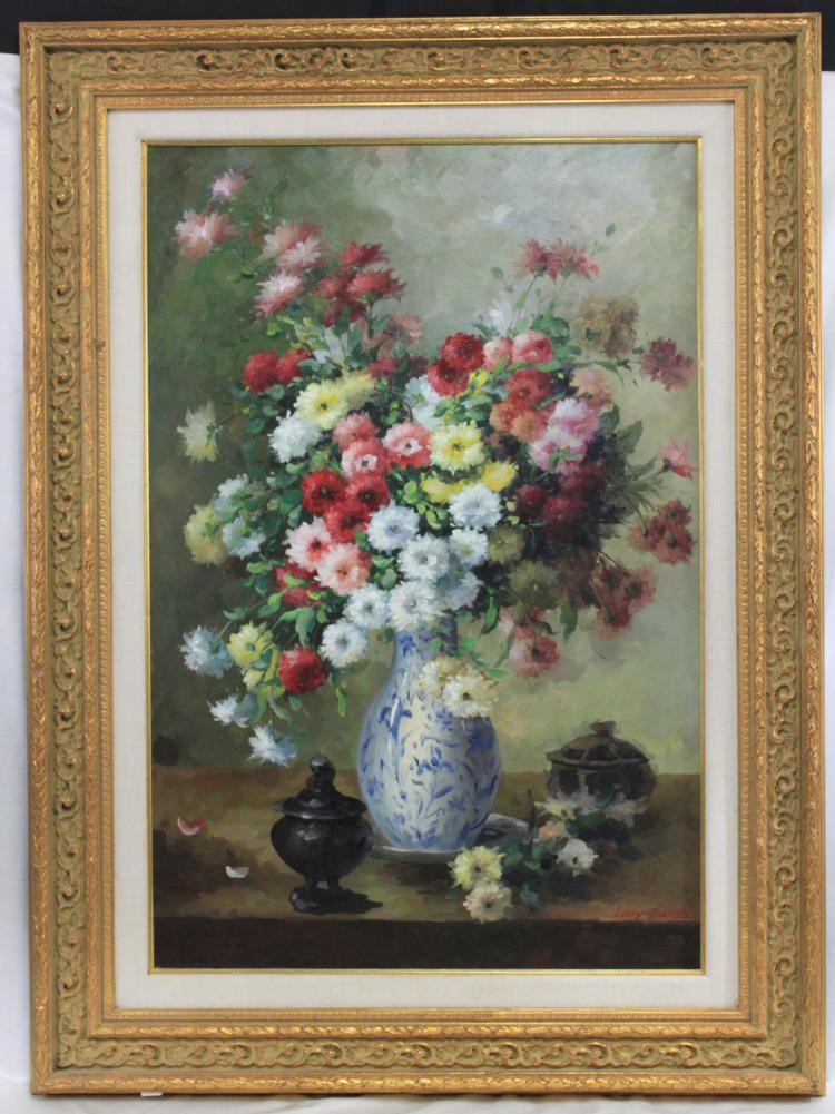 Large Modern Oil on Canvas Painting Floral Still Life
