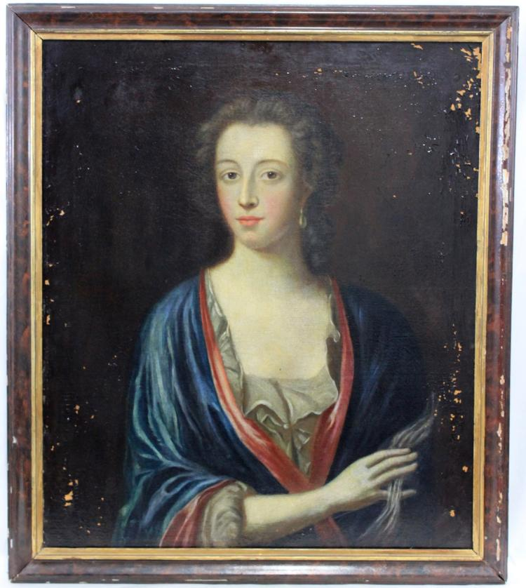18-Century Oil On Canvas English Lady Portrait Painting
