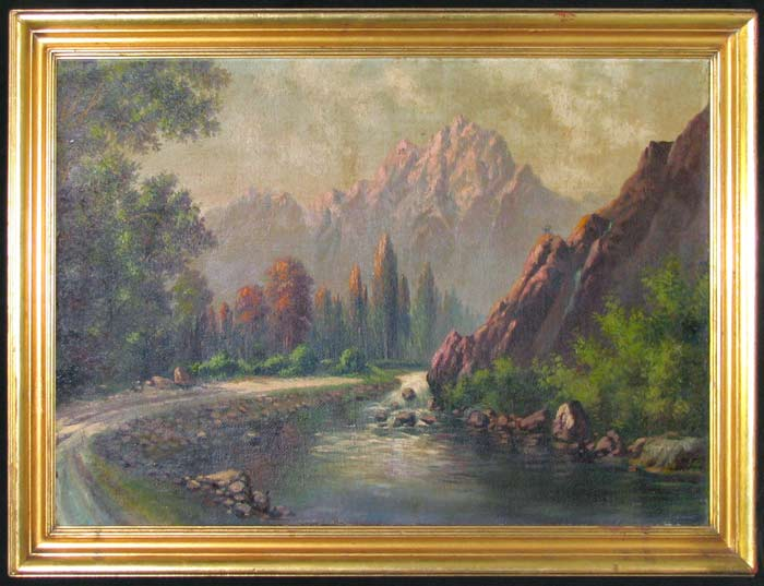Twentieth-Century Rock Oil on Canvas Painting Mountain Landscape