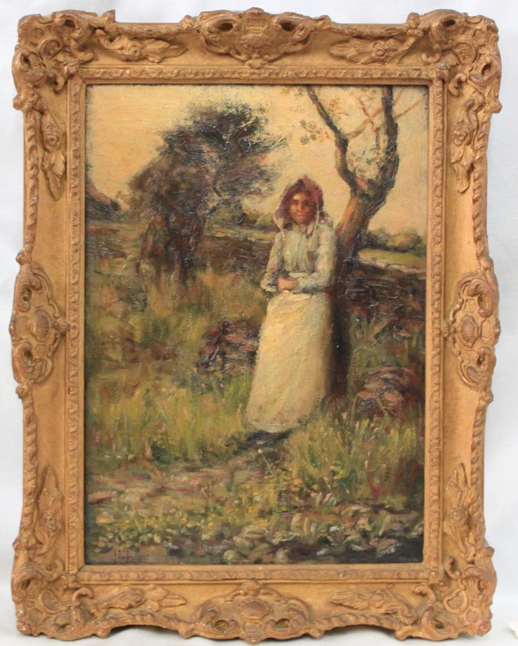 19th Century Oil On Canvas Painting in Gilded & Carved Frame