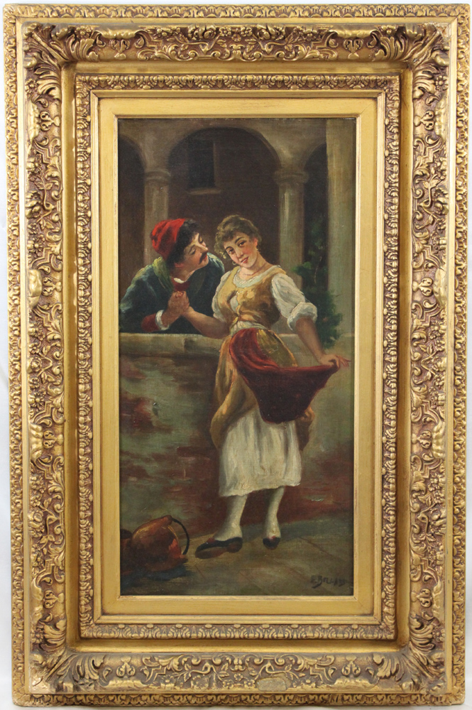 19th Century Italian Oil On Canvas Painting in Gilded Carved Frame, Signed