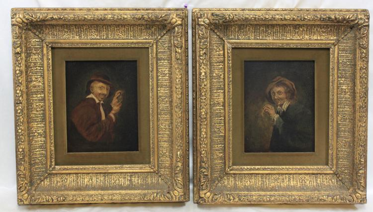 Pair of 19th Century Flemish Oil on Panel Portrait Painting, Unsigned