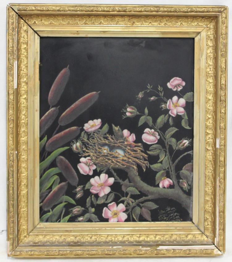 Oil on Metal Painting of Flowers