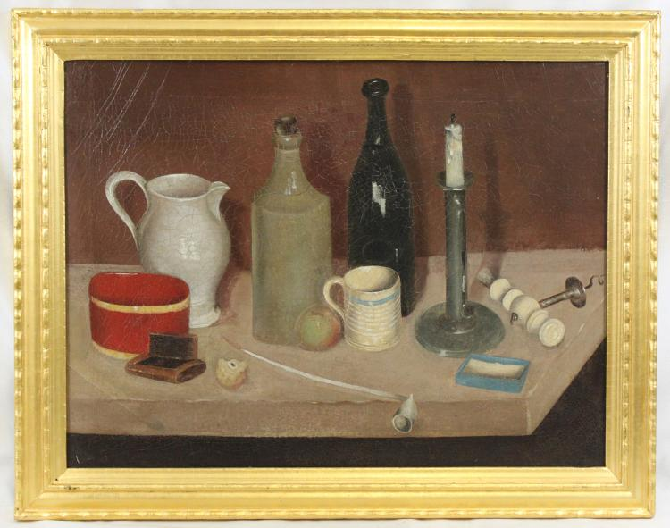 19th Century American School Oil On Canvas Still Life Painting
