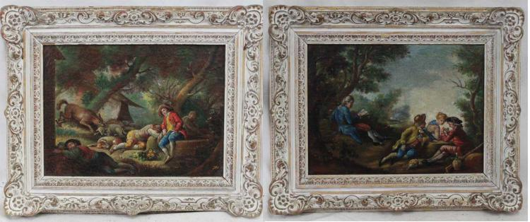 Two Early 19th Century German Oil on Canvas Paintings