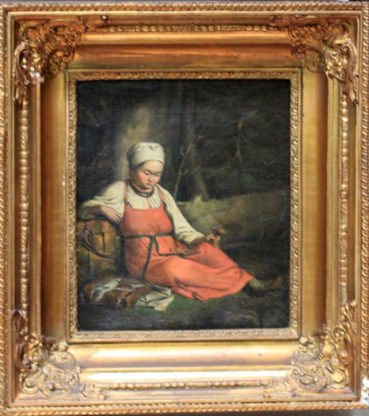 Late 18th early 19th Century French Oil on Canvas Painting of a Girl