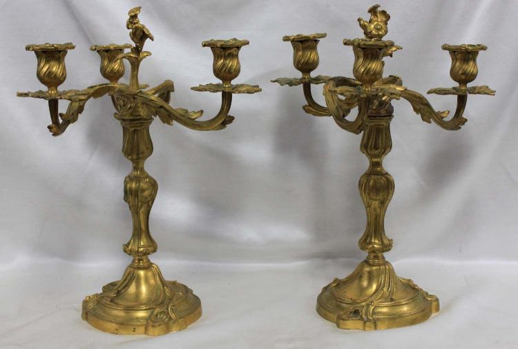A Pair of French Ormolu Three-Branch Bronze Candelabra, Late 19th Century
