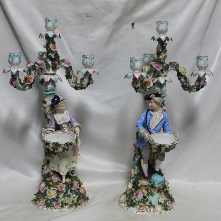 Pair of 19th Century German Four Light Candelabras