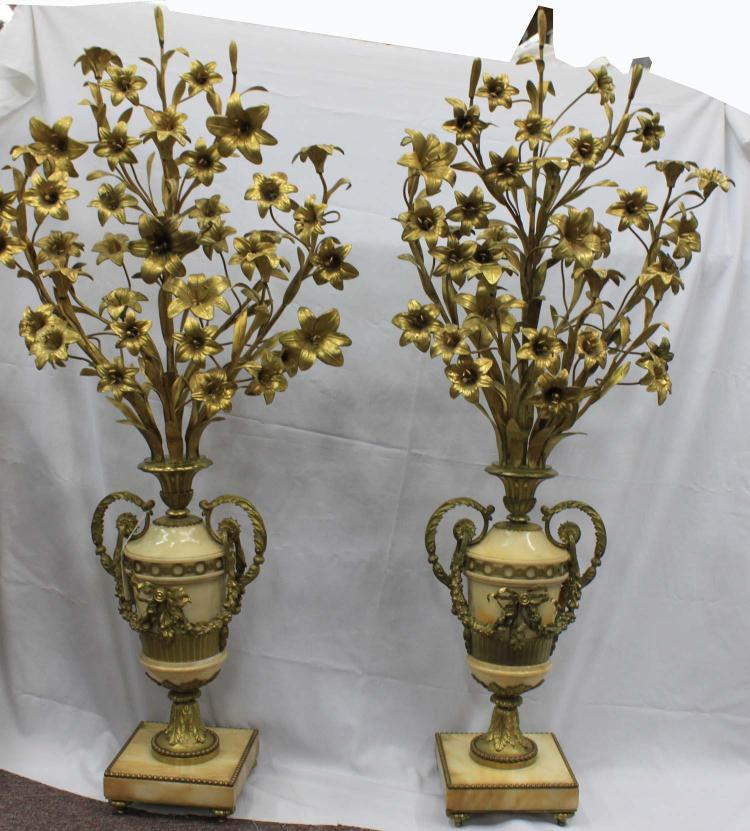 Palace Size 19th Century French Large Onyx and Bronze Candelabras as Vases of Flowers