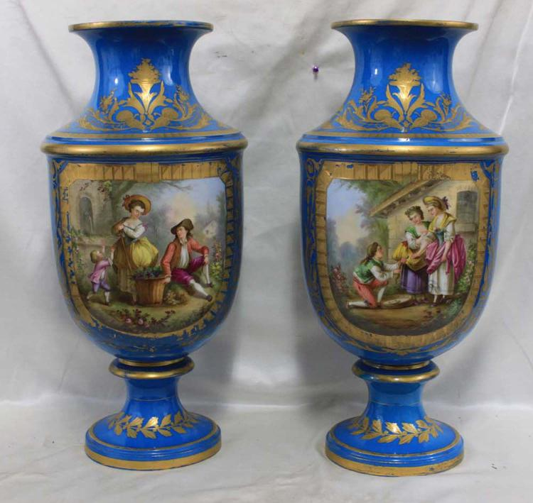 Exquisite Pair of Important 18th Century Porcelain French Sevres Vases
