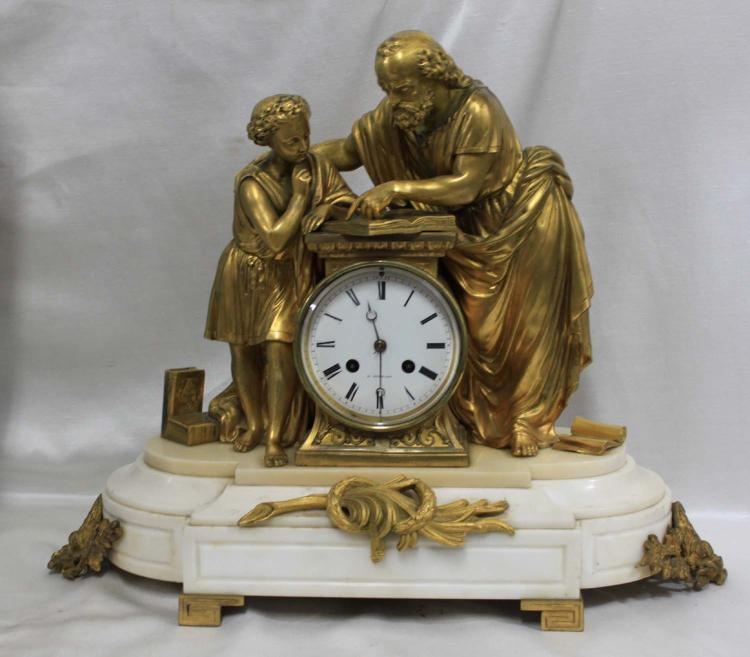 19th Century French Antique Bronze and Marble Clock