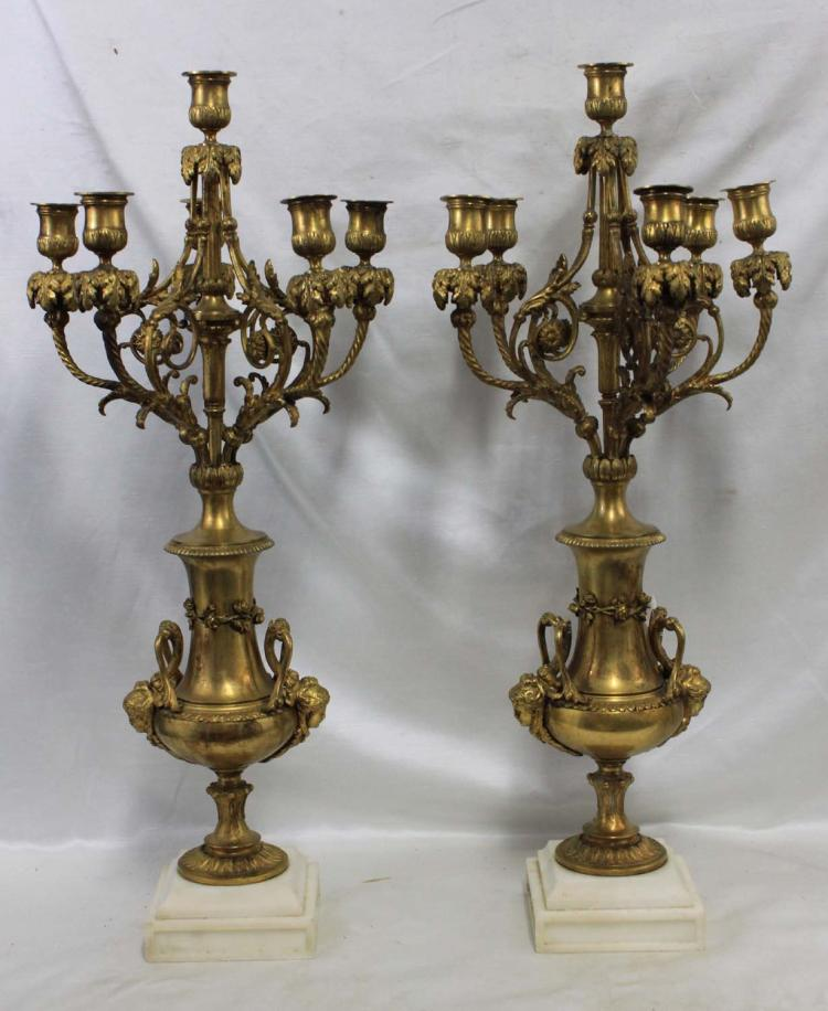 Pair of 19th Century French Napoleon III Gilt-Bronze Six-Light Candelabra