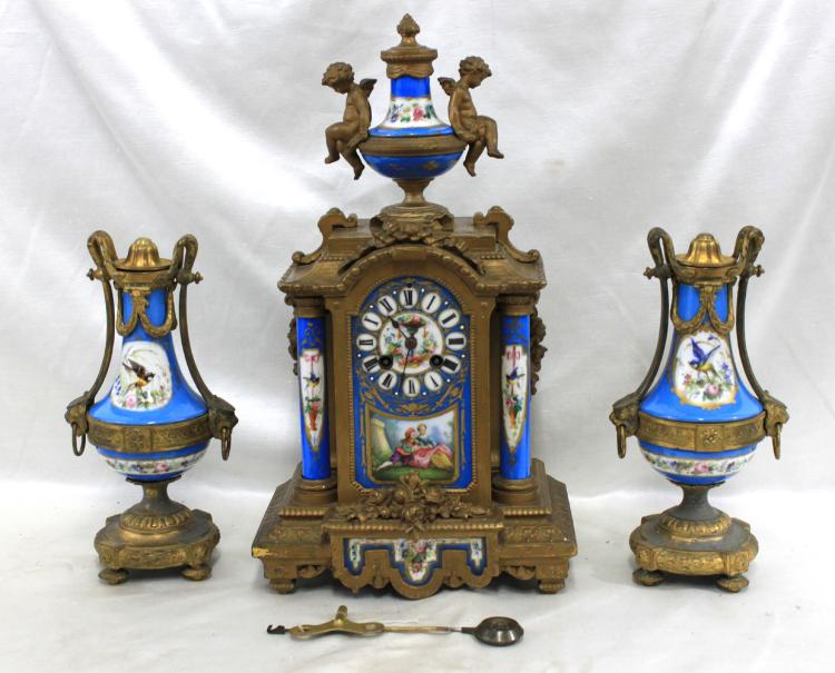 Louis XVI Style Gilt-Bronze and Porcelain Clock Garniture