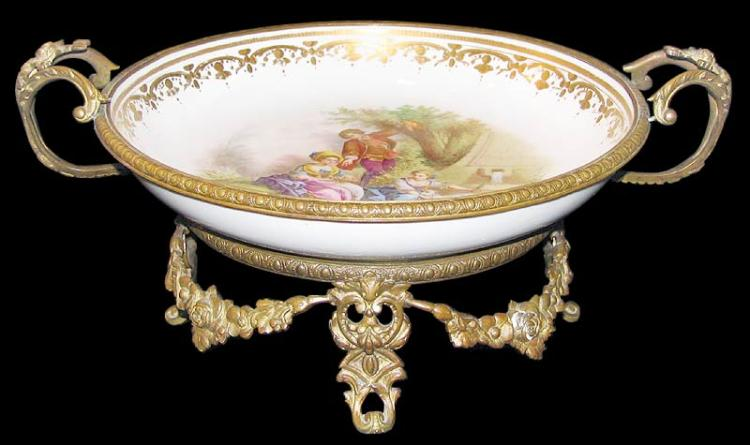 19th Century French Sevres Porcelain and Bronze Centerpiece Marked Sevres