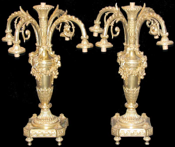 Pair of 19th Century Bronze Table Light Fixtures (Lamps)