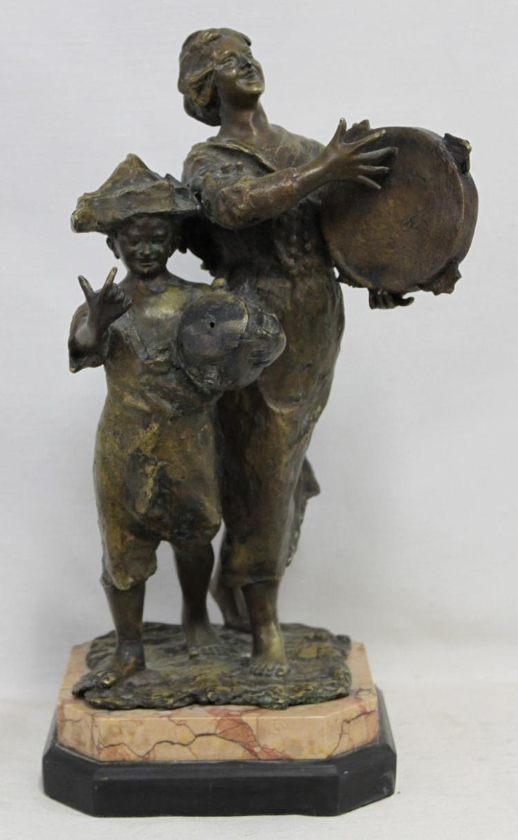 19 Century French Bronze Figure of Peasant Musicians