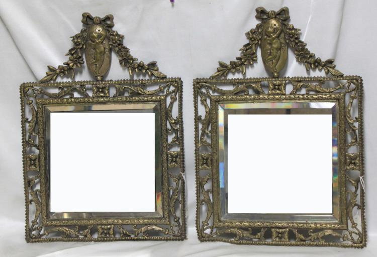 Pair of 19th century French Bronze Mirrors