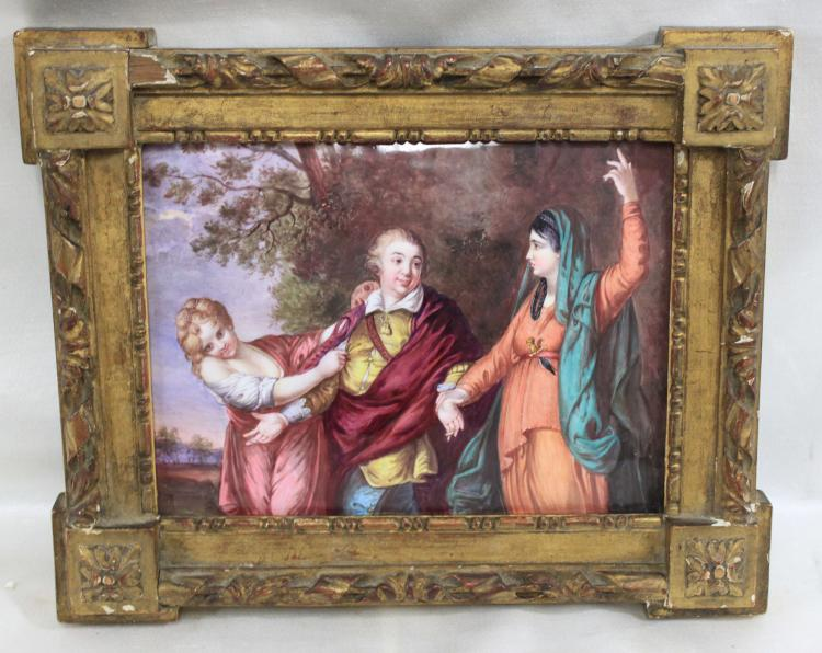 19 Century French Enamel on Copper Plaque Limoges Signed