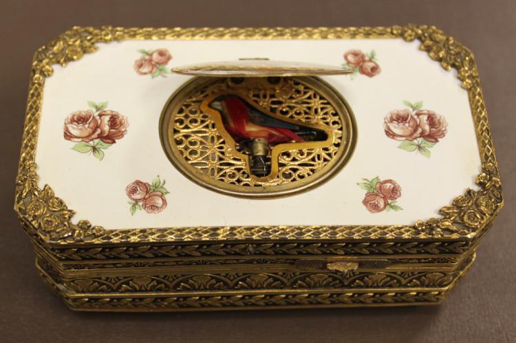 A German Gilt Metal and Enamel Singing Bird Music Box, 20th century