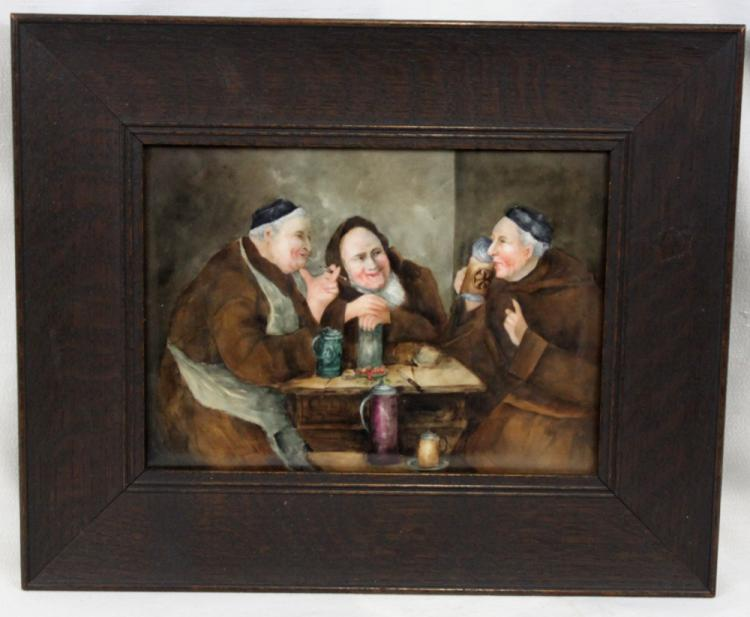 19 Century Hand-Painted Porcelain Plaque Depicting Three Monks Drinking