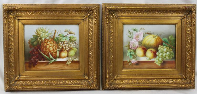 Pair of English Hand Painted Porcelain Still Life Panels, Signed T. Simpson