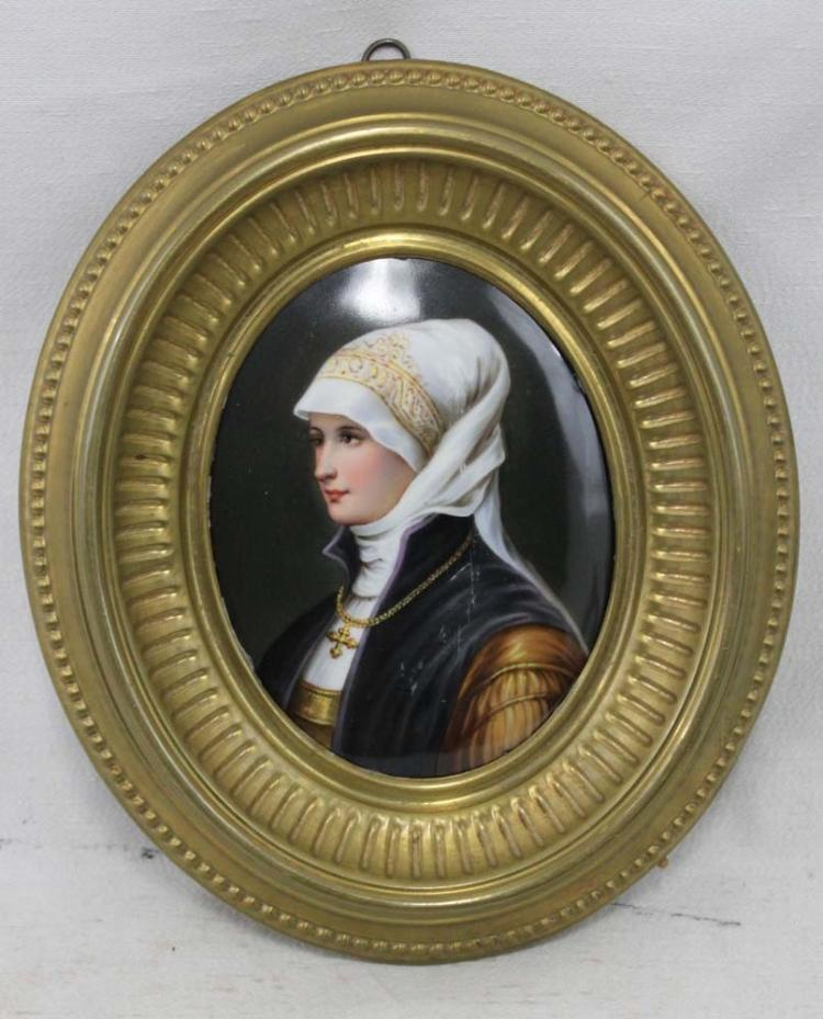 19 Century Hand Painted Continental Painted Porcelain Plaque of a Young Woman