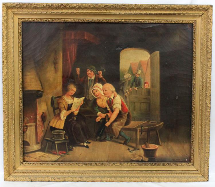 19-Century Oil On Canvas Painting Of Interior, Signed