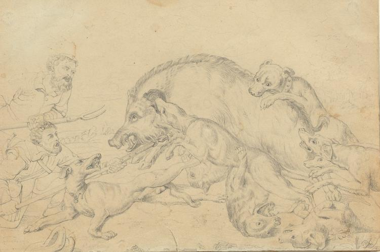 Flemish 16th Century Graphite Drawing on Woven Paper, Circle of Frans Snyders