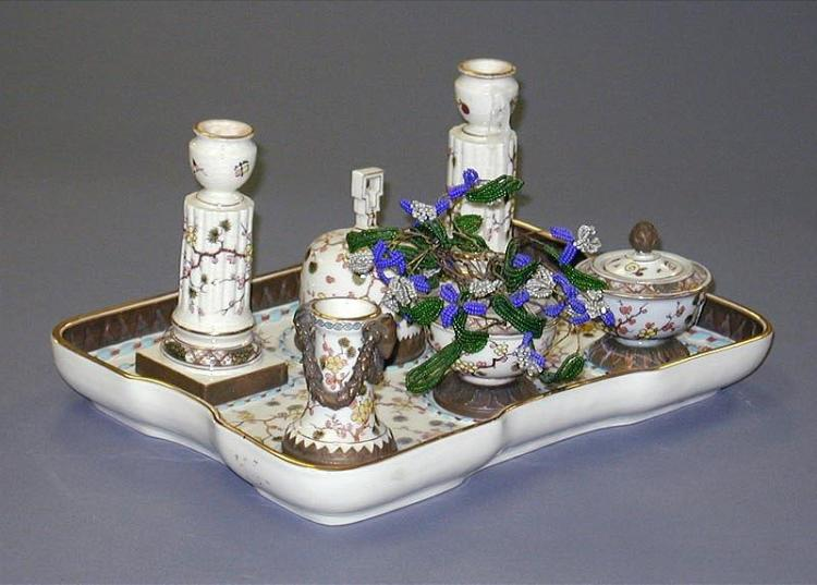 Probably French Porcelain 7-piece Desk Set from 1920Õs, Marked (Stamped Under Glazing)