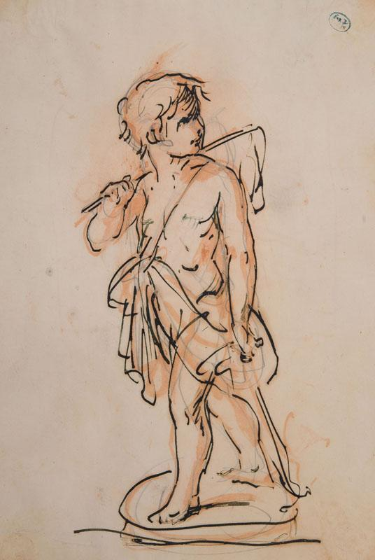 Italian 17-18 Century Ink Drawing of a Cupid
