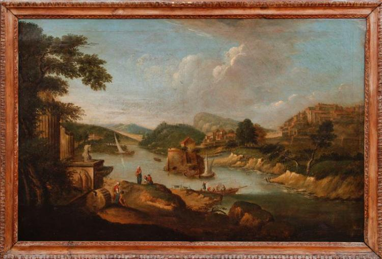 18 Century European Oil On Canvas Landscape Painting