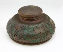 Tiffany Studios Patinated Bronze & Glass Pine Needles Inkwell