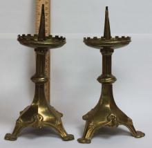 Pair of Probably Flemish Gothic Pricket Candlesticks