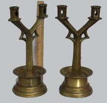 Gothic Style Pair of Bronze Socket Candlestick