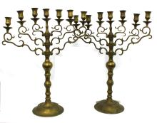 Pair of Judaic Brass Seven-Light Candelabra Late 17 early 18 century, probably German