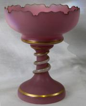Antique Tall Compote Rose-Colored Opaline Overlay Glass
