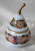 Antique Hand Painted Enamel Opaline Glass Pear Shaped Box Casket