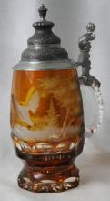 Heavy Bohemian Amber Glass Beer Stein, Engraved, Deep Cuts