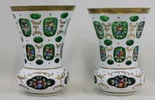 Pair of Bohemia Overlay Glass Vintage Goblet Shaped Vase