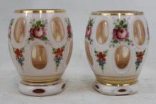 Pair of Hand Painted Bohemian Glass Vintage Overlay Vases