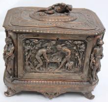 19 Century European Metal Copper and Silver Colored Box