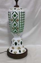 Vintage Cased Glass White Overlay Cut to Green Vase Made into a Lamp