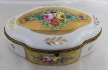 Circa 1900's Early Vintage Floral Hand Painted French Porcelain Hinged Trinket Box